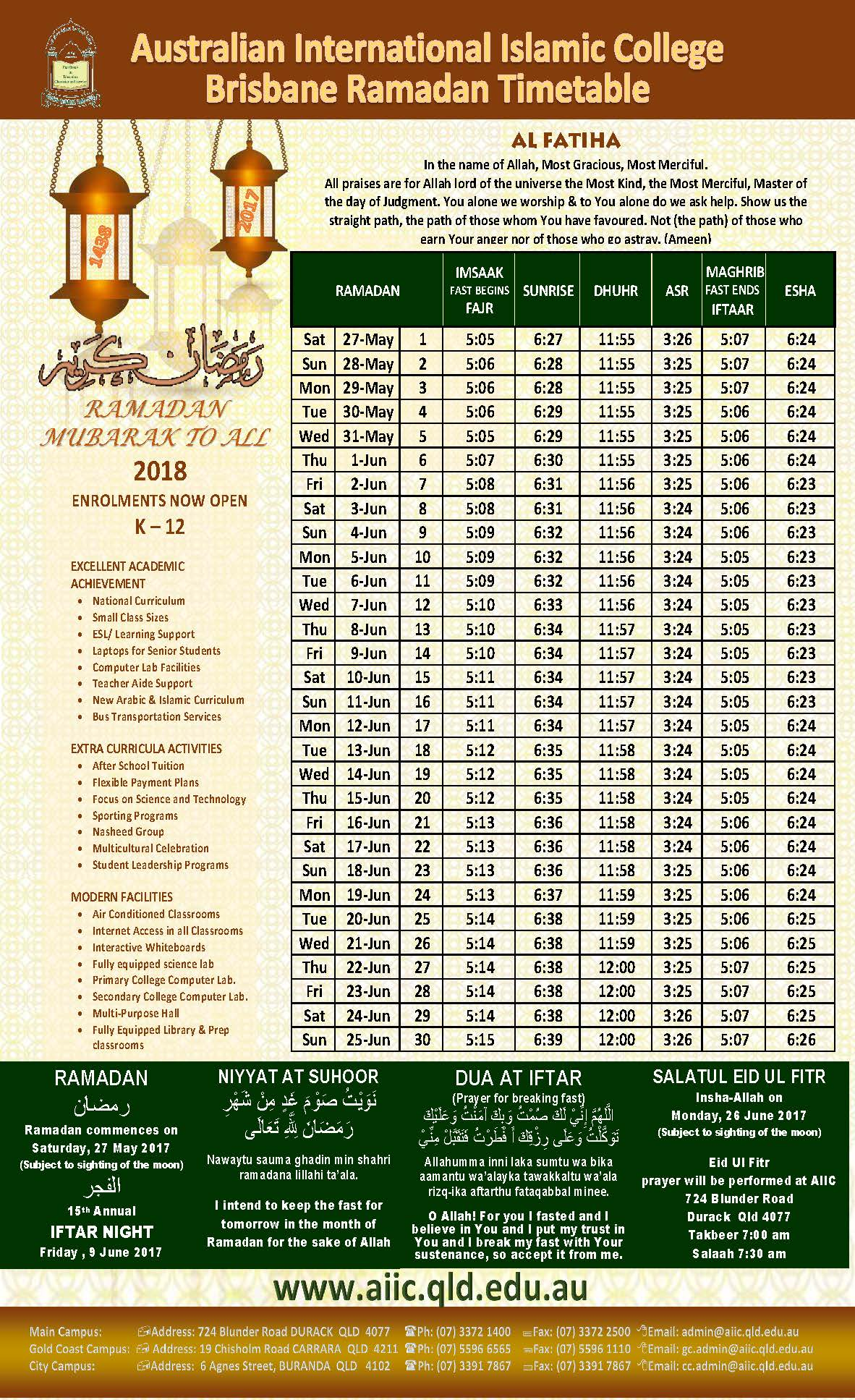 2017 RAMADAN TIME TABLE
